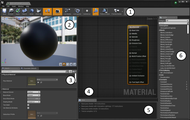 Figure 13. The Materials Editor screen and its six parts.