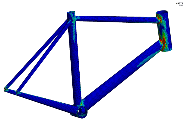 A generic bike frame modeled with composites in ANSYS. (Image courtesy of ANSYS.)