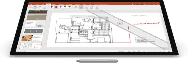 Using the Surface Pen to modify a floor plan. (Image courtesy of Microsoft.)