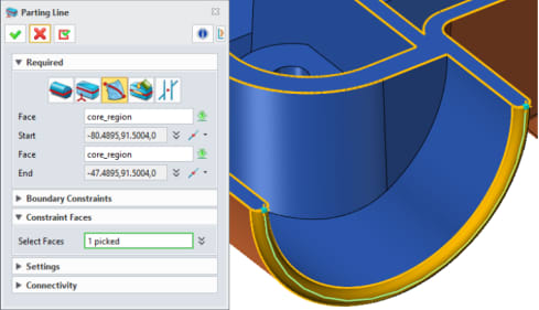 Constraint Faces for generating parting lines on a cross face (Image courtesy of ZWSOFT.)
