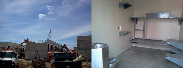 On the left, you can see the installation of 3D-printed walls by crane on-site at a correctional facility. On the right, the finished product after fixtures were installed. The flooring was built on-site to house plumbing, and then the walls were dropped into place. (Images courtesy of AECOM.)