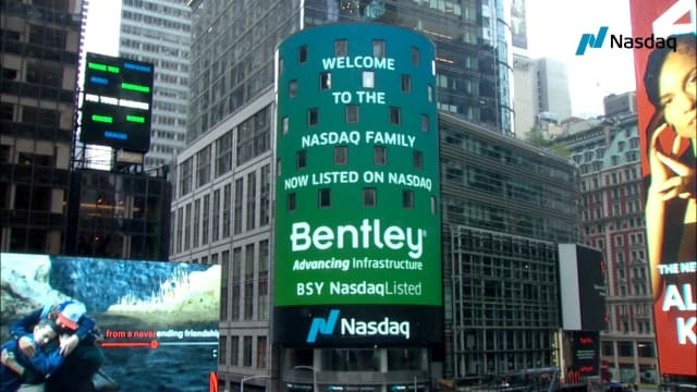Bentley Systems announced its IPO and was welcomed Sep 23, 2020 by the NASDAQ stock exchange in New York. (Picture from Bentley Systems.)