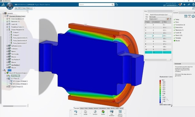 Simulation on the 3DEXPERIENCE WORKS platform. (Image courtesy of SOLIDWORKS.)