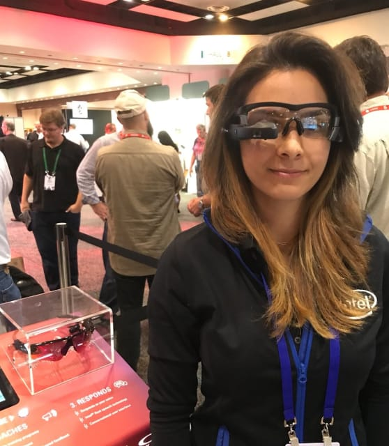 Smartglasses by Intel, modeled by @nazt64, one of many on displayed at AR World Expo 2017.