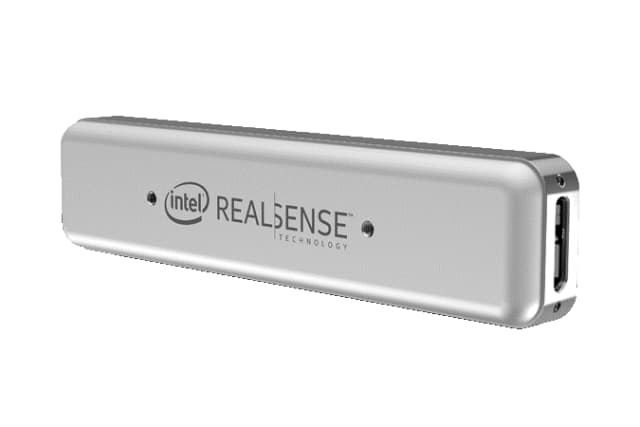 Intel's response to Occipital's Structure Core is the Intel RealSense Tracking Camera T265. The RealSense depth cameras by Intel feature high depth resolutions and wide field views. The depth camera family is comprised of the D435i, the D435 and the D415. The D435i has an inbuilt IMU. (Image courtesy of Intel.)