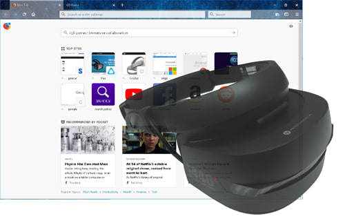 A team leader sets up a meeting and invites everyone. They need a browser, a VR headset (Rift, HTC Vive, Windows Mixed Reality device are supported), a workstation or laptop that supports VR devices, or a VR-enabled smartphone. If you do not have a VR device or supporting hardware, you can still join the meeting with your browser. (Image courtesy of IQ3Connect Inc.)