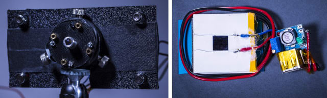 Left: The UW team's prototype laser emitter. The high-powered guard beam is emitted from the central port. Four low-powered guard beams are emitted from ports surrounding the guard beam. Next to each guard beam port are clear photodiodes, which detect the guard beams when they're reflected back to the emitter by retroreflectors on the phone. Right: The UW team's prototype heatsink assembly, which can be attached to the back of a smartphone, consists of a photovoltaic cell (silver square, top) attached to a thermoelectric generator (in white). The generator is mounted on top of an aluminum heatsink. The entire assembly is only 8mm thick and 40mm wide. (Image courtesy of Mark Stone/University of Washington.)