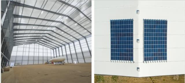 Solar Ship aircraft hangar, by Legacy Building Solutions.