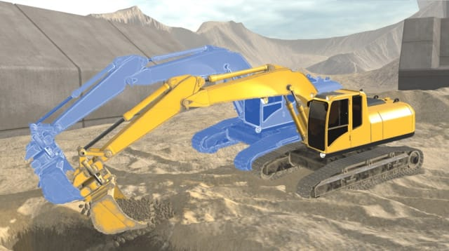 It's not only about covering the functionality and visualization of the excavator's digital twin model; the excavator's operating environment can also easily be inserted, for example by converting the photos from drone cameras into a 3D virtual environment using photogrammetry.