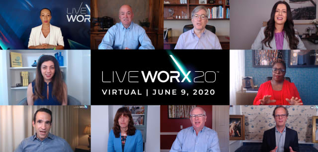 LiveWorx 2020 saw PTC's flagship conference go virtual. Clockwise from top left: Andrea Winslow, LiveWorx host; Jim Heppelmann, CEO of PTC; Blake Moret, CEO of Rockwell Automation; Helen Papagiannis, AR expert; Kimberly Bryant, CEO of Black Girls Code; Kevin Wrenn, EVP Products, PTC; Jon Hirschtick, EVP, President of SaaS, PTC; Eduarda Camacho, EVP, Customer Operations, PTC; Nir Eyal, entrepreneur and author; and Rana el Kaliouby, CEO of Affectiva.