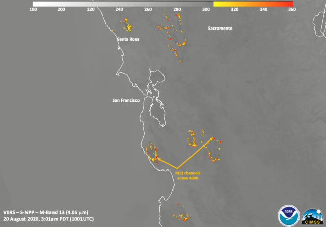 Heat from the fire measures above 400K (260 degrees F). (Image courtesy of NOAA/NASA/William Straka U of W-Madison/CIMSS/SSEC.)