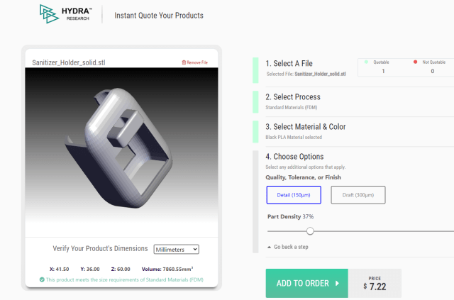 Easy 3D print ordering system by MakerOS on the Hydra Research site. Price is updated immediately with each variation. (Picture courtesy of Hydra Research)
