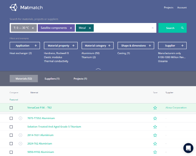 This screenshot of Matmatch.com shows material results for a given search.