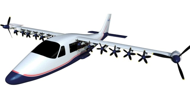 NASA's X-57 first all-electric experimental aircraft. (Image courtesy of greenoptimistic.com.)