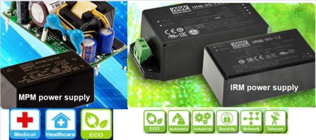 The MEAN WELL MPM and IRM series of AC/DC power supplies. (Image courtesy of MEAN WELL.)