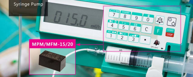 A syringe pump, a typical medical application of the MPM onboard power supply. (Image courtesy of MEAN WELL.)