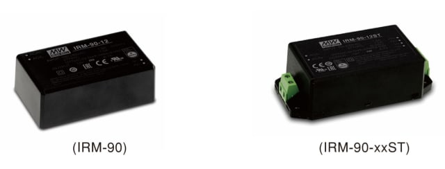 The MEAN WELL IRM-90. Left: PCB mounting style model. Right: screw terminal style model. (Image courtesy of MEAN WELL.)