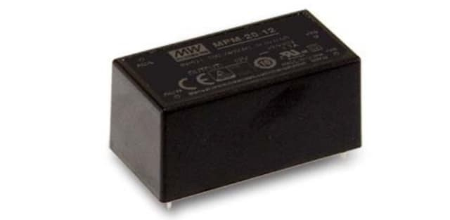 The MEAN WELL MPM 20-12 onboard power supply. (Image courtesy of MEAN WELL.)