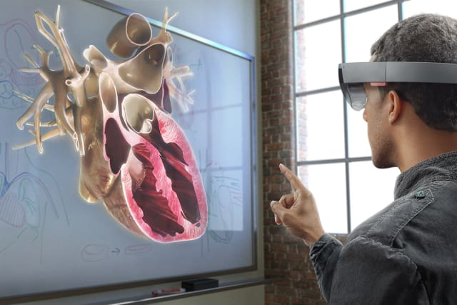 If any of these startups want to win in AR, Microsoft HoloLens (pictured here) is the tech to beat. (Image courtesy of Microsoft.)