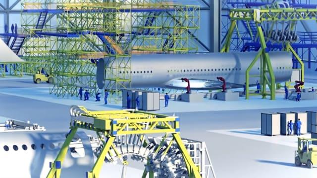 A virtual airplane hangar. (Image courtesy of Siemens.)