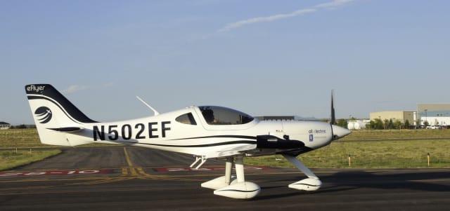 The Bye Aerospace eFlyer electric plane.