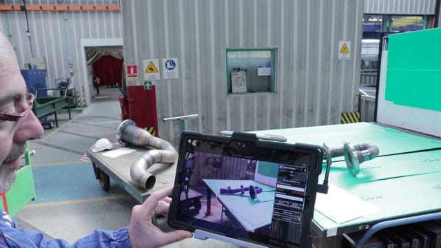 France's Naval Group uses Diota, a Siemens partner, for an augmented reality check of a part. (Picture courtesy of Diota.)