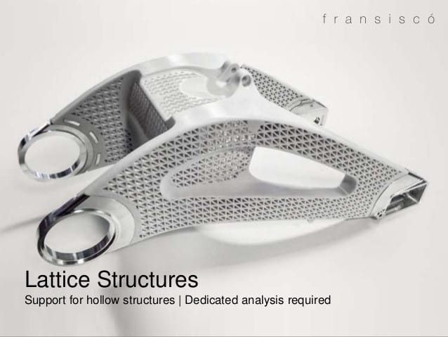 Figure 2 – Some CAD program can make lattice structures, which are uniformly shaped and unidirectional. Picture courtesy of Gilbert Peters, on SlideShare. https://www.slideshare.net/GilbertPeters/topology-optimisation-for-3d-printing