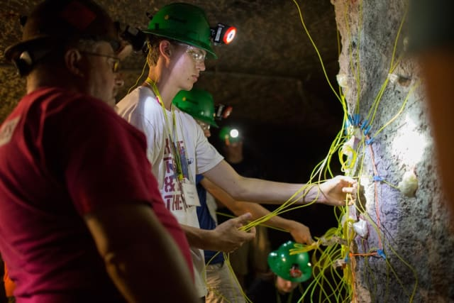 Pictured above are students inside the Experimental Mine at the S&T summer explosives camp. (Image courtesy of Aimee Whitmire /Missouri S&T.)