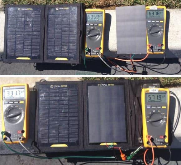 In sunlight, SunCore's panels produce more current (top) and voltage (bottom) than P-type.
