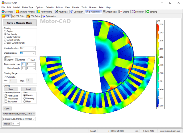Screenshot of Motor-CAD's EMag module. (Image courtesy of Motor Design Limited.)