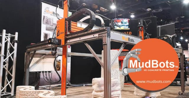 MudBots uses a mixture of lime, sand and cement to create large-scale prints. The prints include structural elements like pillars as well as the major construction of small homes using binder jet 3D printing. (Image courtesy of MudBots.)