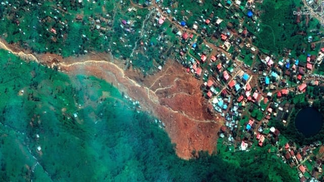 Satellite image of mudslide area in Freetown, Sierra Leone, from DigitalGlobe.