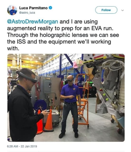 Recently, a European Space Agency astronaut named Luca Parmitano posted a picture on Twitter showing himself and crew member Andrew Morgan (a NASA astronaut) using Magic Leap One to train for a new mission aboard the International Space Station. (Image courtesy of NASA.)
