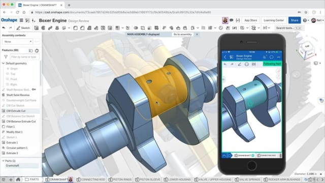 Example of two users collaborating on an Onshape document—one in a web browser, another on a phone. (Image courtesy of Onshape.)