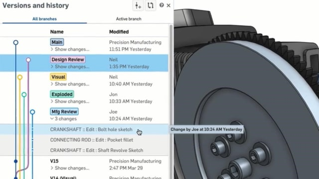 Screenshot of the versions and history tree in Onshape. (Image courtesy of Onshape.)