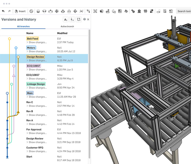 Onshape's data management features obviate the need for additional PDM software. (Image courtesy of Onshape.)