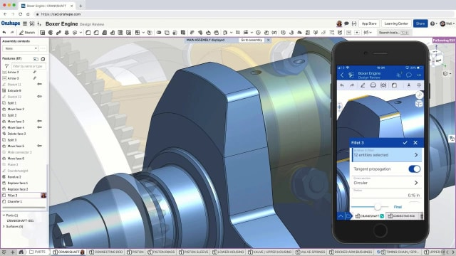 Onshape was formed by a group of former SOLIDWORKS executives in 2012. They created the first truly Cloud-based CAD software that allowed users to share designs on the cloud independent of their different local hardware. It was recently acquired by PTC. (Image courtesy of Onshape.)