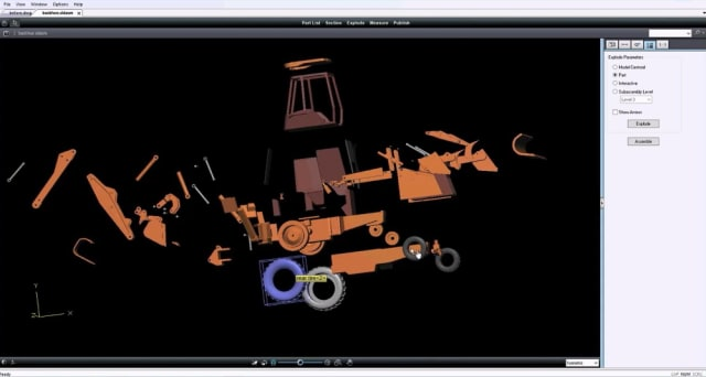 Exploded view of a backhoe in OpenText Brava! (Image courtesy of OpenText.)