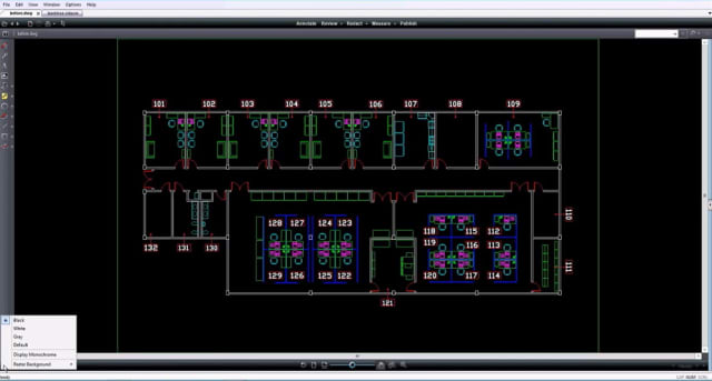The Brava! Desktop interface with a DWG file loaded. Color options are available in the bottom left side of the screen. (Image courtesy of OpenText.)