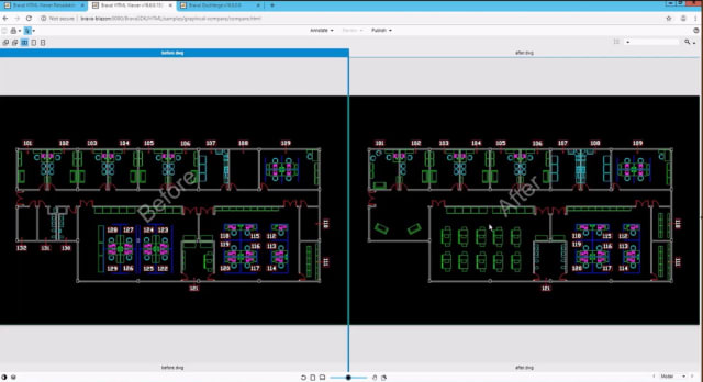 Two DWG files side by side in Brava's Compare mode. (Image courtesy of OpenText.)