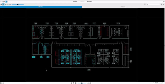 The same two DWG files in graphical overlay. The left drawing is tinted blue; the right red. (Image courtesy of OpenText.)