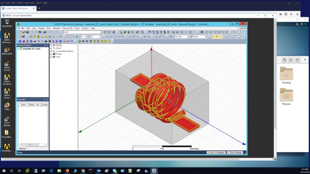 Screenshot of ANSYS Maxwell running remotely via Exceed TurboX. (Image courtesy of OpenText.)