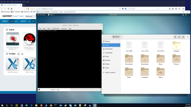 A virtual Linux desktop running on a Windows machine, with the Exceed TurboX dashboard in the background. (Image courtesy of OpenText.)