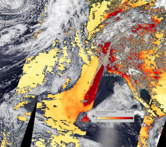 Optical depth of the smoke coming off the California wildfires. (Image courtesy of NASA Worldview.)