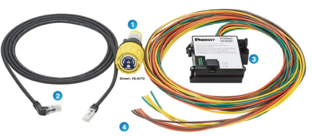 The AVT simplifies worker safety near electrical machinery and equipment. It consists of (1) the indicator module, (2) the system cable, (3) the isolation module, and (4) the sensor and ground leads. (Image courtesy of Panduit.)