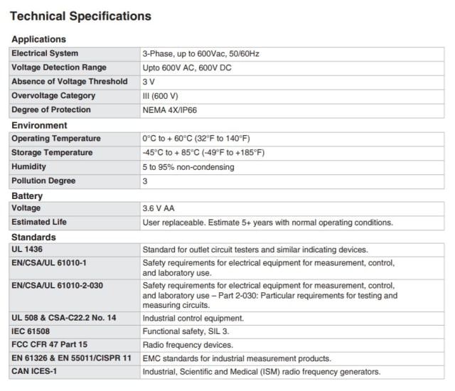 The technical specifications of the VeriSafe Absence of Voltage Tester. (Image courtesy of Panduit.)