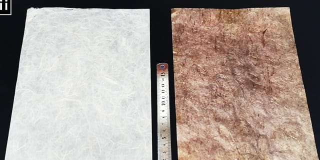 The difference between paper prior to metallization (left) and the paper coated with conductive nanoparticles. (Image courtesy of Yongmin Ko.)