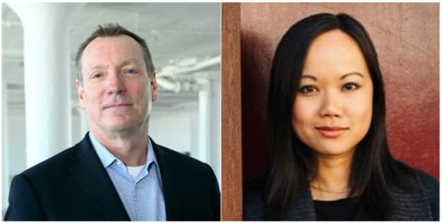 Jim Lynch, vice president, BIM Product Line Group at Autodesk, and Tracy Young, CEO and cofounder of PlanGrid. (Image courtesy of LinkedIn.)