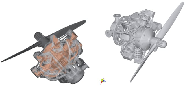A 69,000 polygon model (right) created for fast rendering in augmented and mixed-reality applications. Original 5.4 million polygon CAD assembly (left) was reduced using Polygonica's shrink-wrapping and simplification algorithms. (Picture courtesy of MachineWorks)