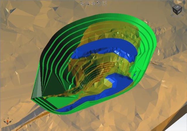 A mining we will go. Boolean operations between a topography and the open pit design. (Picture courtesy of Alastri.)